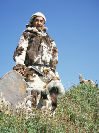 Eskimo in Traditional Clothing at Yanrakino Village, Chukchi Peninsula, Russian Far East, Russia