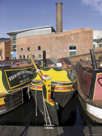 Narrow Boats and Barges Moored, Gas Street Canal Basin, City Centre, Birmingham, Midlands, England