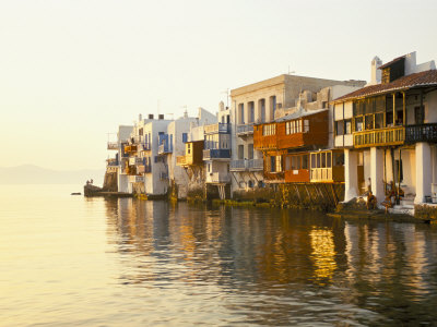Little Venice at Sunset, Mykonos Town, Mykonos, (Mikonos), Greek Islands, Greece