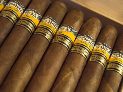 Close-Up of Limited Edition Cigars in a Box, Cohiba, Havana, Cuba, West Indies, Central America Posters