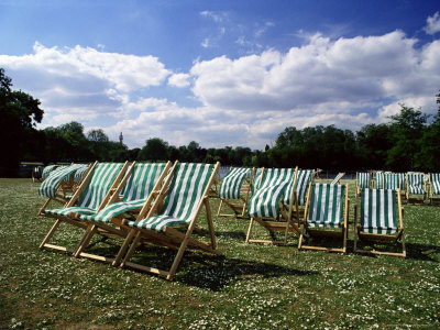 Deckchairs in Regents Park, London, England, United Kingdom Photographic Print