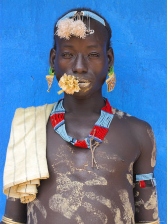 Tsemay Man with Flower in Mouth at Weekly Market, Key Afir, Lower Omo Valley, Ethiopia, Africa