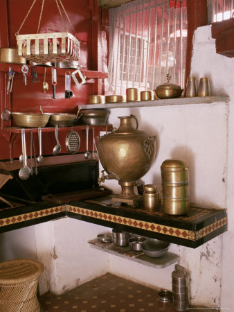 Kitchen Area with Traditional Brass Cooking Utensils and Samovar in Restored Traditional Pol House