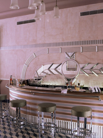 Art Deco Period Bar Area, Usha Kiran Palace Hotel, Gwalior, Madhya Pradesh State, India