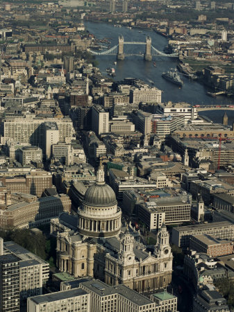 Aerial View of St. Pauls Cathedral, Tower Bridge and the River Thames, London, England