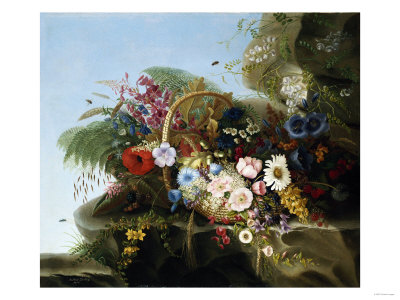 Still Life of Flowers in a Basket, 1852