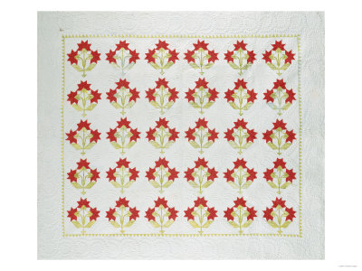 Carolina Lily Coverlet, Maryland, Appliqued and Trapunto Quilted, Circa 1850