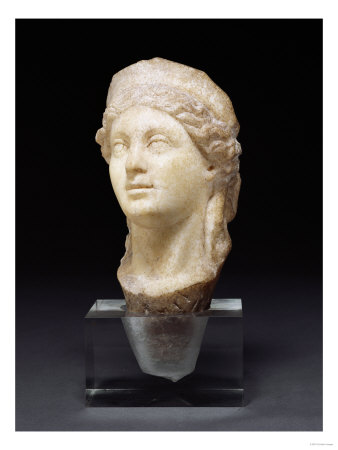 Head of a Goddess, Possibly Hera or Hygeia, Roman, Marble, Circa 2nd Century A.D.