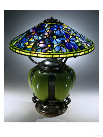 A Fine and Rare 'Clematis' Leaded Glass, Blown Glass and Bronze Table Lamp