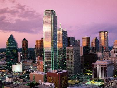 Downtown at Dusk from Reunion Tower, Dallas, Texas