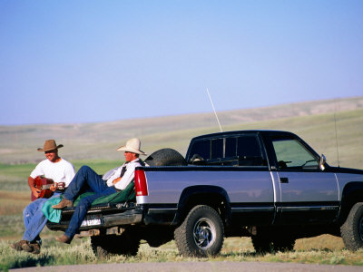 Cowboy Musicians on Back of Pick-Up Truck, Near South Pass, Wyoming