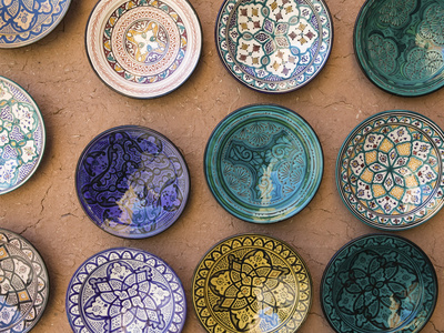 Moroccan Plates, Ensemble Artisanat, Ouarzazate, South of the High Atlas, Morocco