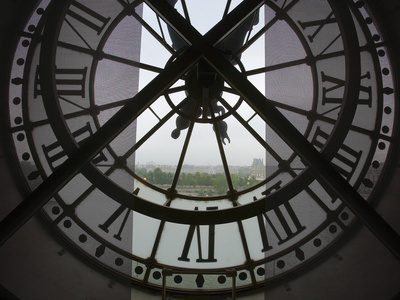 View Across Seine River from Transparent Face of Clock in the Musee d