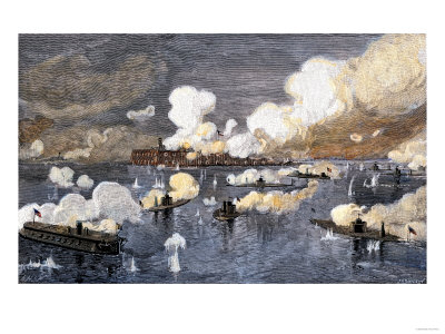 Historical reprint of the Union Fleet bombarding Fort Sumter c. 1863.