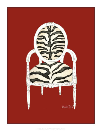 Zebra Chair on Red Posters