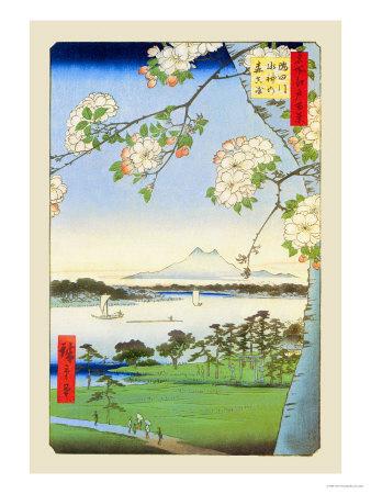 Cherry Blossoms affiche par Ando Hiroshige