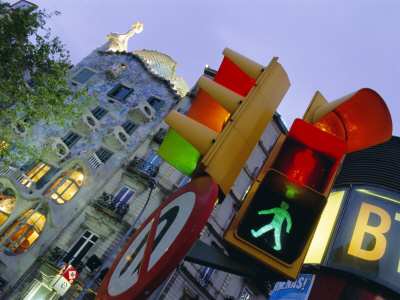 Casa Balli, Gaudi Architecture, and Street Signs, Barcelona, Spain