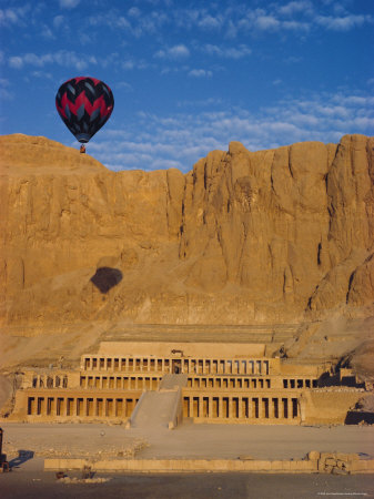 Ballon Over Deir El Bahari, Temple of Hatshepsut, West Bank, Thebes, Egypt, North Africa