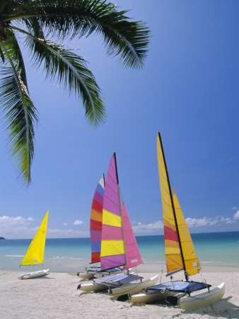 Sail Boats on Chaweng Beach, East ...