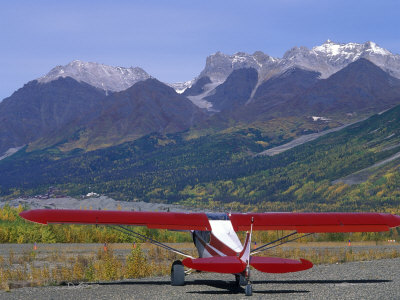 Supercub and the Wrangell Mountains in Mccarthy, Alaska