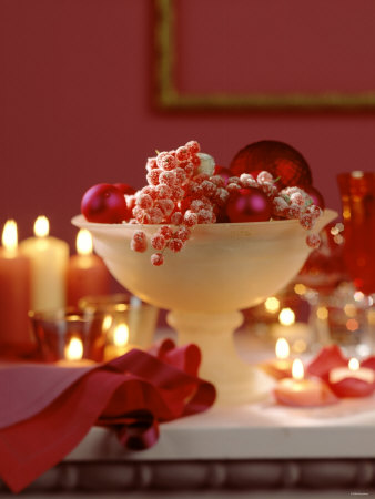 Glass Bowl of Berries & Xmas Baubles as Table Decoration