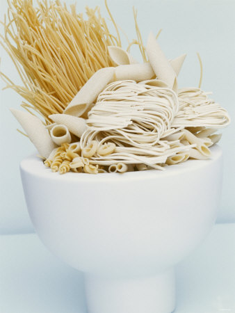 Various Types of Pasta in a Small Bowl