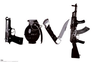 Love (Weapons) Black & White Steez Poster Poster