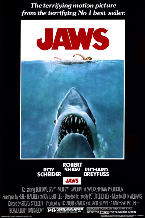 Jaws 1975 Movie Cover Art Poster