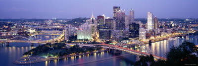 Pittsburgh Lit Up at Dusk, Allegheny County, Pennsylvania, USA Posters