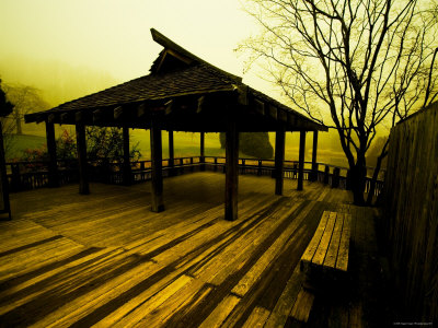 Japanese Gazebo on Deck overlooking Water and Hills