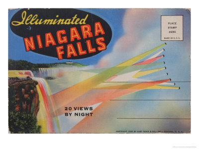 Illuminated Niagara Falls Postcard
