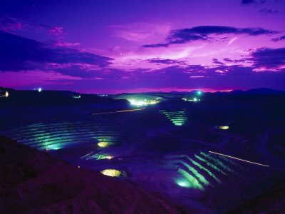 Open-Pit Mining Site at Copper Mine at Night, NM