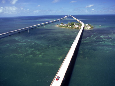 Aerial of 7 Mile Bridge, Pigeon ...