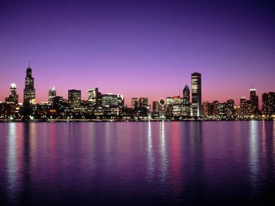 Chicago Skyline at Sunset, IL