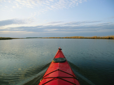 Sea-Kayak Bow Parts the Rippled Water of the Blackwater River