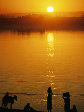 People on the Shore of the Nile at Sunrise
