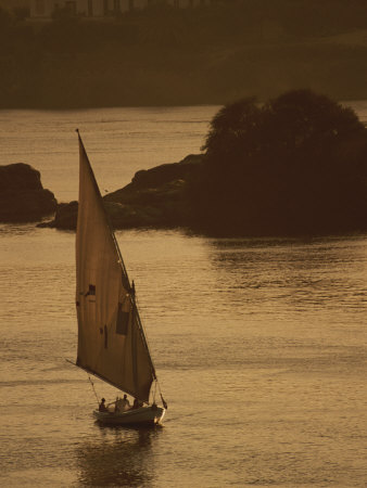 Sailboat on the Nile River at Twilight