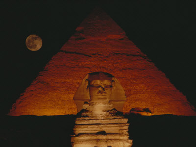 A View of the Great Sphinx and the Chephren Pyramid at Night