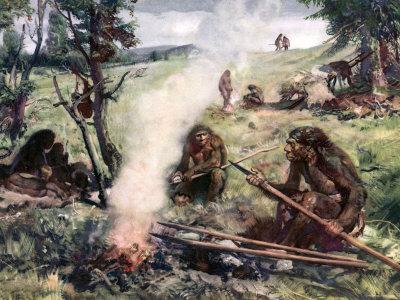 Neandertaler mit Waffen am Feuer