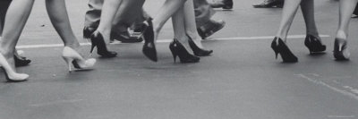 Women Walking on the Street in Spike Heeled Shoes