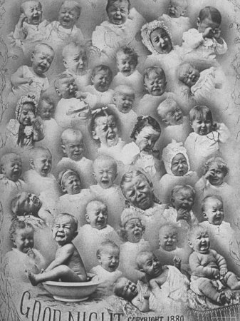 Nineteenth Century Photo Montage of Crying Babies Entitled: Good Night