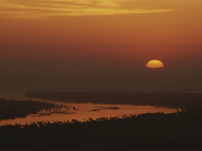 Sunrise over the Nile River in the Valley of the Kings