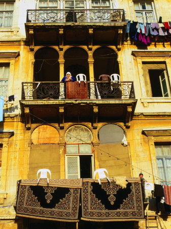 Persian Carpets and Washing Hanging on Apartment Balconies, Tripoli, Lebanon