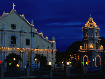 Christmas Lighting on the Cathedral of St. Paul and Tower, Vigan, Philippines