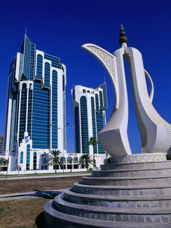Twin Towers and Teapot Sculpture at Eastern End of the Corniche, Doha, Ad Dawhah, Qatar