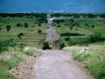Jeep on Dirt Road, Ngorongoro Conservation Area, Arusha, Tanzania