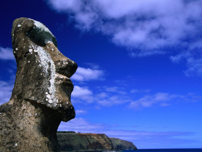 Traditional Moai Carved from Soft Volcanic Rock, Ahu Tongariki, Chile Posters