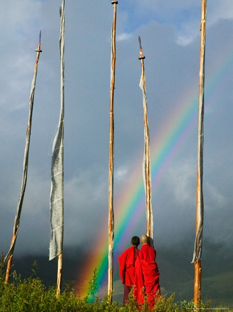 Rainbow and Monks with Praying Flags, Phobjikha Valley, Gangtey Village, Bhutan