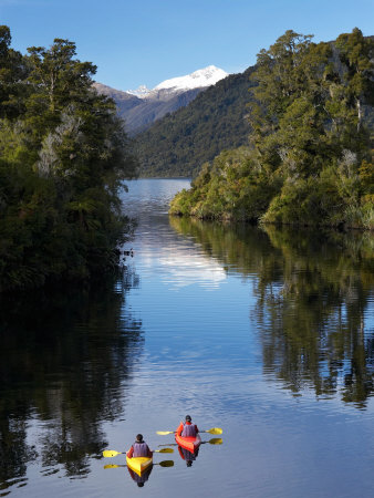 Kayaks, Moeraki River by Lake Moeraki, West Coast, South Island, New Zealand