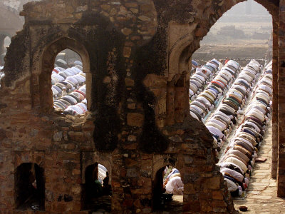 Muslims Offer Eid Prayers at the Ruins of Jami Mosque, Which was Built in 1345 AD
